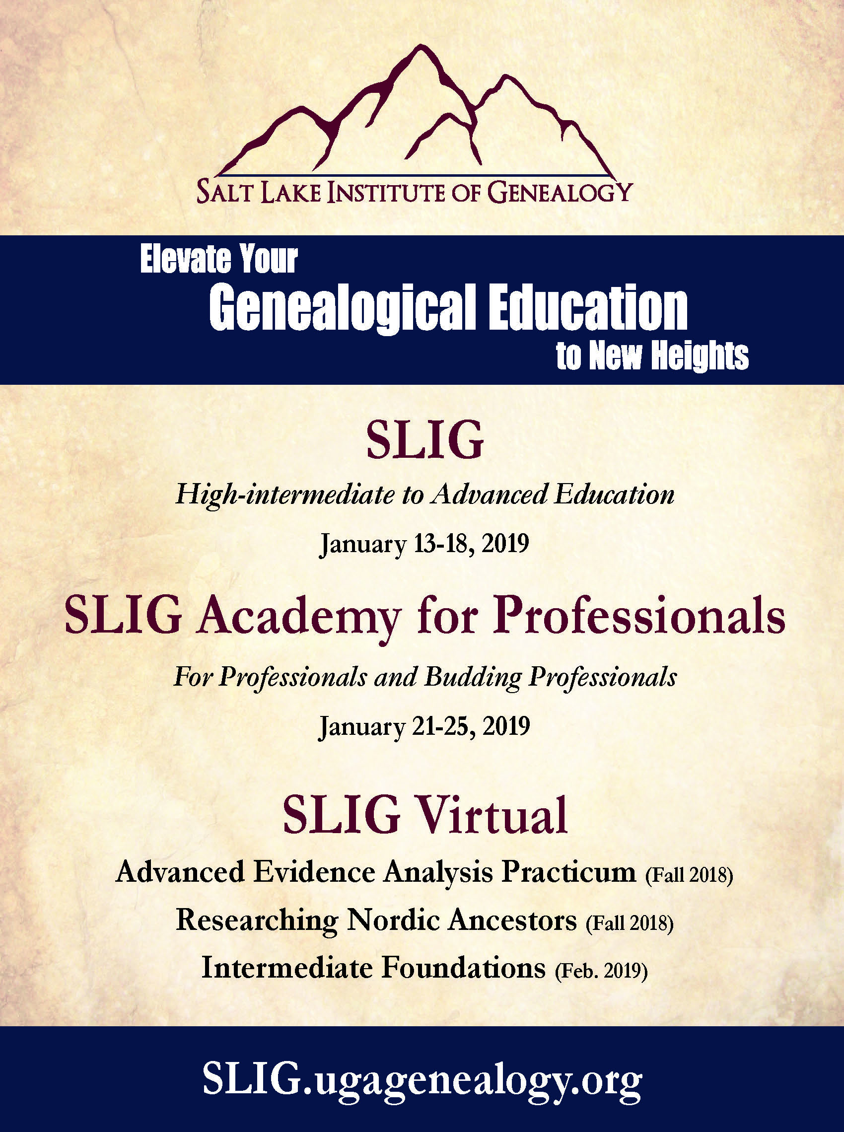 SLIG: Fall 2018 and January 2019 Programs
